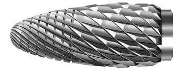 Фреза твердосплавна для сплавів благородних і неблагородних металів та бюгельного лиття, дрібна насічка, діаметр 023