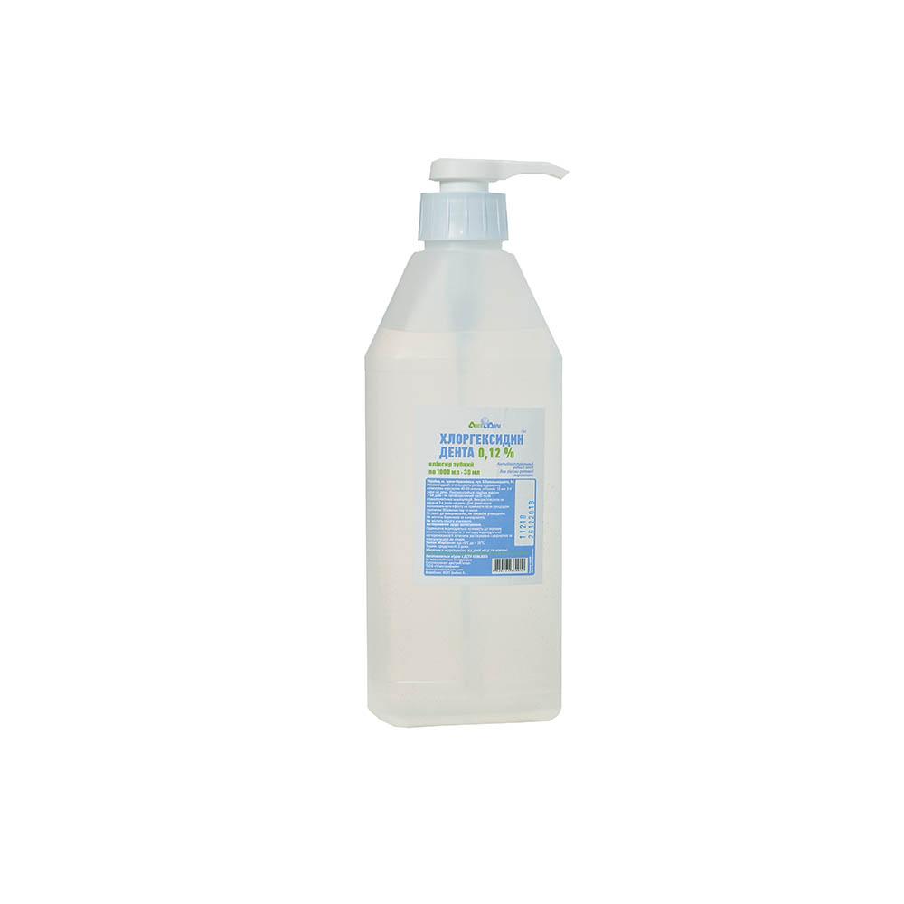 Хлоргексидин Дента 0,12% Еліксир зубний Антибактеріальний рідкий засіб у флаконах по 1000мл, 1000мл